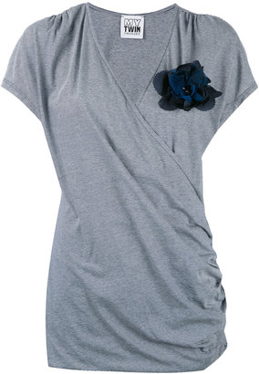 Twin-Set jersey wrap T-shirt $92.27 thestylecure.com