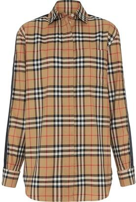 Burberry satin stripe check shirt