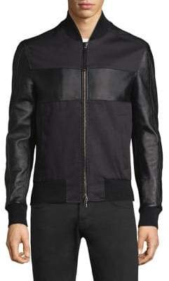 Diesel Black Gold Mixed Media Leather Jacket
