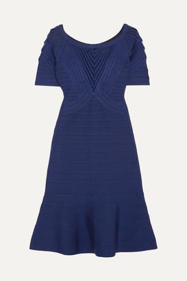 Herve Leger Tulle-paneled Bandage Mini Dress