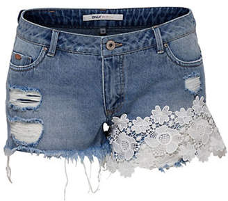 Only Lace-Trimmed Denim Shorts