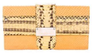 Jimmy Choo Python-Trimmed Continental Wallet