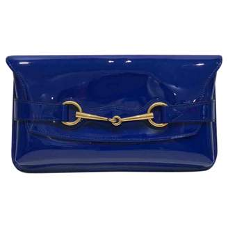 Gucci Navy Patent Leather Clutch Bag