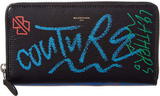 Balenciaga Graffiti Bazar Continental Leather Zip Around Wallet