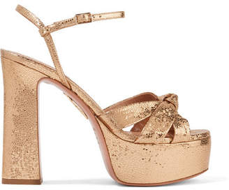Aquazzura Baba Plateau Metallic Cracked-leather Platform Sandals - Gold