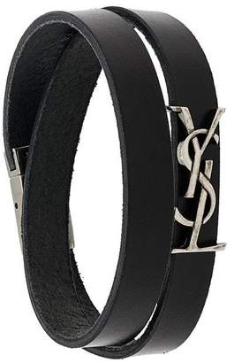 Saint Laurent wrap-around monogram logo bracelet