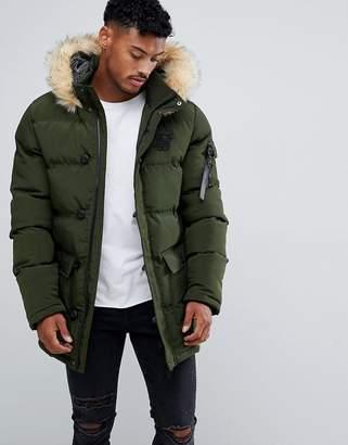 SikSilk parka jacket with faux fur hood in khaki