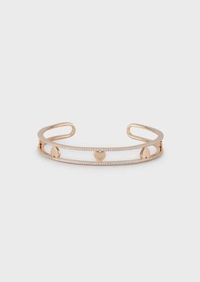 Emporio Armani Women'S Rose Gold-Tone Sterling Silver Cuff Bracelet