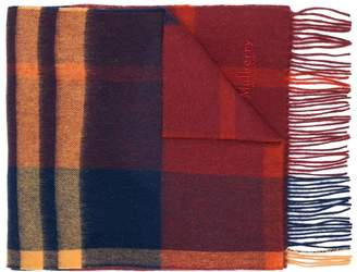 Mulberry check fringed scarf