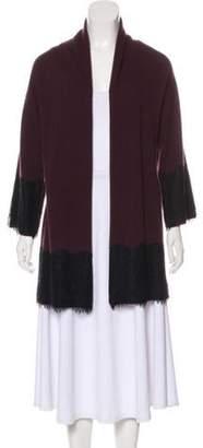 Neiman Marcus Lace-Trimmed Cashmere Cardigan Lace-Trimmed Cashmere Cardigan