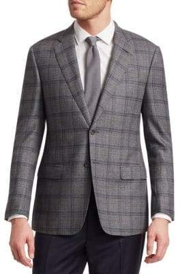 Giorgio Armani Windowpane Check Twill Wool Suit Jacket