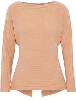 Vince Cutout Tie-Back Ribbed Wool And Cashmere-Blend Sweater