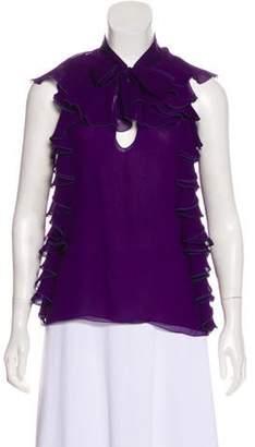 Giambattista Valli Silk Ruffle-Accented Sleeveless Top Violet Silk Ruffle-Accented Sleeveless Top
