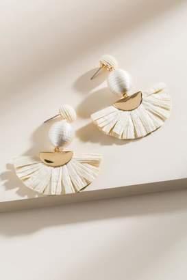 francesca's Joy Raffia Statement Earrings in Ivory - Ivory