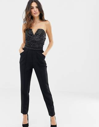 Lipsy bandeau jumpsuit with sequin detail in black