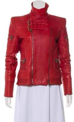 Balmain Leather Zip-Up Jacket Red Leather Zip-Up Jacket
