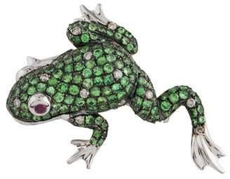 18K Tsavorite, Ruby & Diamond Frog Pendant Brooch