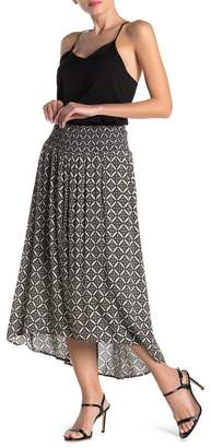 Bobeau Tile High/Low Ruched Maxi Skirt
