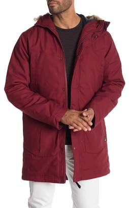 Bench Parka with Faux Fur Trim Hoodie