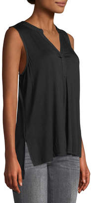 Neiman Marcus Embroidered High-Low Tunic