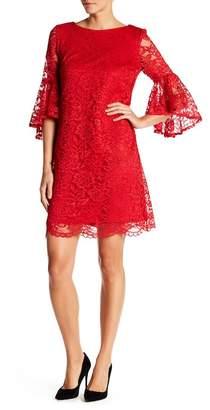 Sandra Darren Lace 3/4 Bell Sleeve Dress