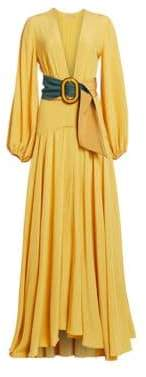 Felicity Balloon-Sleeve Belted A-Line Maxi Dress