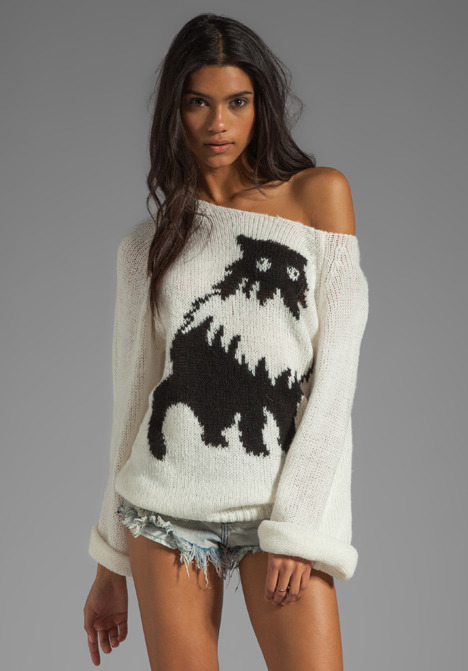 Wildfox Couture White Label Fat Cat Pullover in Egg Shell