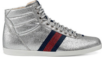 Glitter Web high-top sneaker $595 thestylecure.com