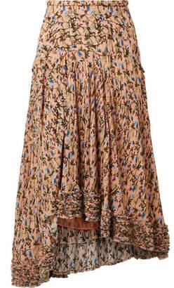 Chloé Asymmetric Pintucked Floral-print Georgette Skirt - Blush