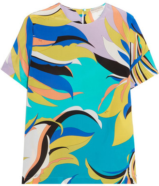 Emilio Pucci - Printed Silk Crepe De Chine Top - Turquoise $750 thestylecure.com