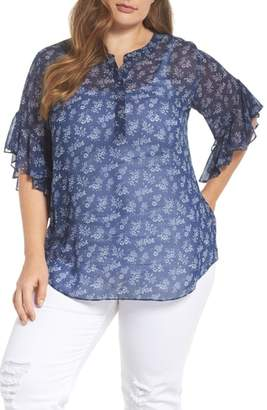 Vince Camuto Calico Flutter Sleeve Henley Top