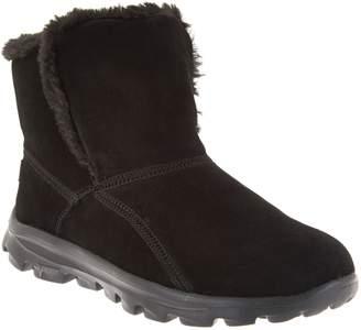 Skechers GOWalk Suede Faux Fur Boots w/ Goga Mat - Dazzling