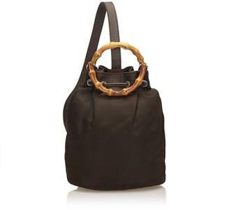 Gucci Vintage Bamboo Nylon Drawstring Backpack