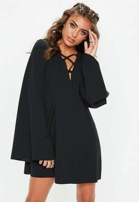 Missguided Black Smock Lace Up Flared Sleeve Mini Dress