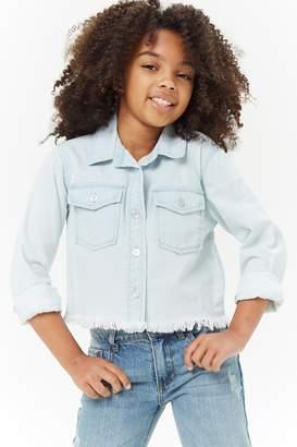 Forever 21 Girls Frayed Denim Shirt (Kids)