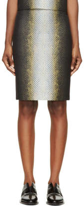 Cédric Charlier Black and Yellow Snake Print Skirt