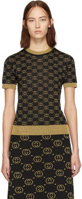 Gucci Black and Gold Wool GG Sweater