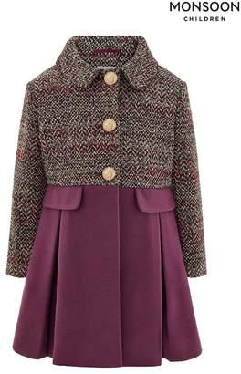 Monsoon Girls Callie Tweed Coat - Purple