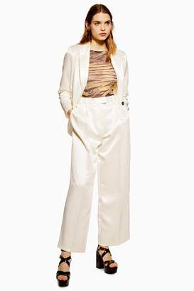 Topshop Womens Twill Satin Trousers - Ivory