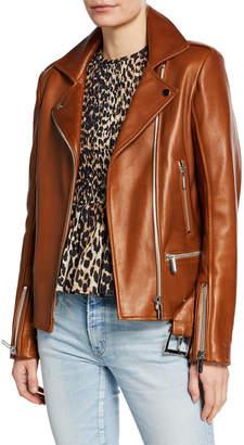 Nour Hammour Lace-Up Leather Biker Jacket