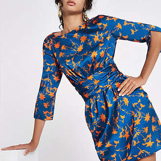 River Island Blue floral print wrap dress
