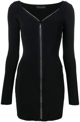 David Koma crystal-embellished zip-up dress