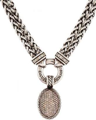 David Yurman Diamond Double Wheat Chain Pendant Necklace