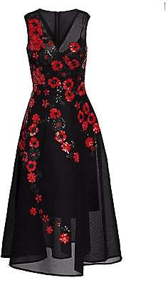 Teri Jon by Rickie Freeman Women's Sequined Floral Mesh A-Line Dress