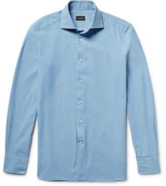 Ermenegildo Zegna Slim-Fit Spread-Collar Washed-Denim Shirt