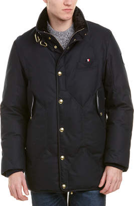 Moncler Gamme Bleu Classic Fitted Wool-Blend Down Coat
