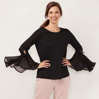Lauren Conrad Women's Flare Sleeve Chiffon Top