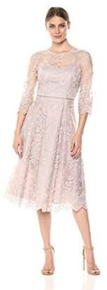 Alex Evenings Women's Midi Length Embroidered a-Line Dress