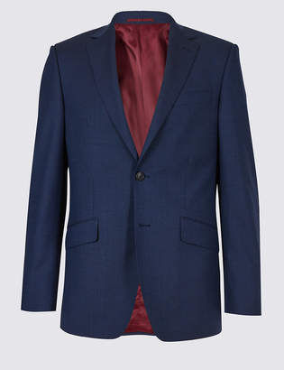 M&S Collection LuxuryMarks and Spencer Big & Tall Indigo Textured Regular Fit Wool Jacket