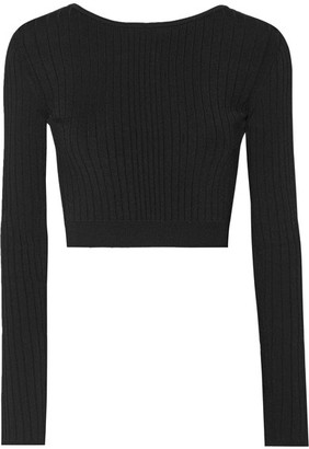 Cushnie et Ochs - Cropped Lace-up Ribbed Stretch-knit Top - Black $625 thestylecure.com